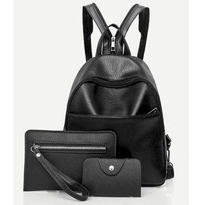 Faux Leather- 3 Piece Backpack Set